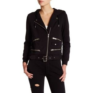 The Kooples Women's Black Biker Hoodie